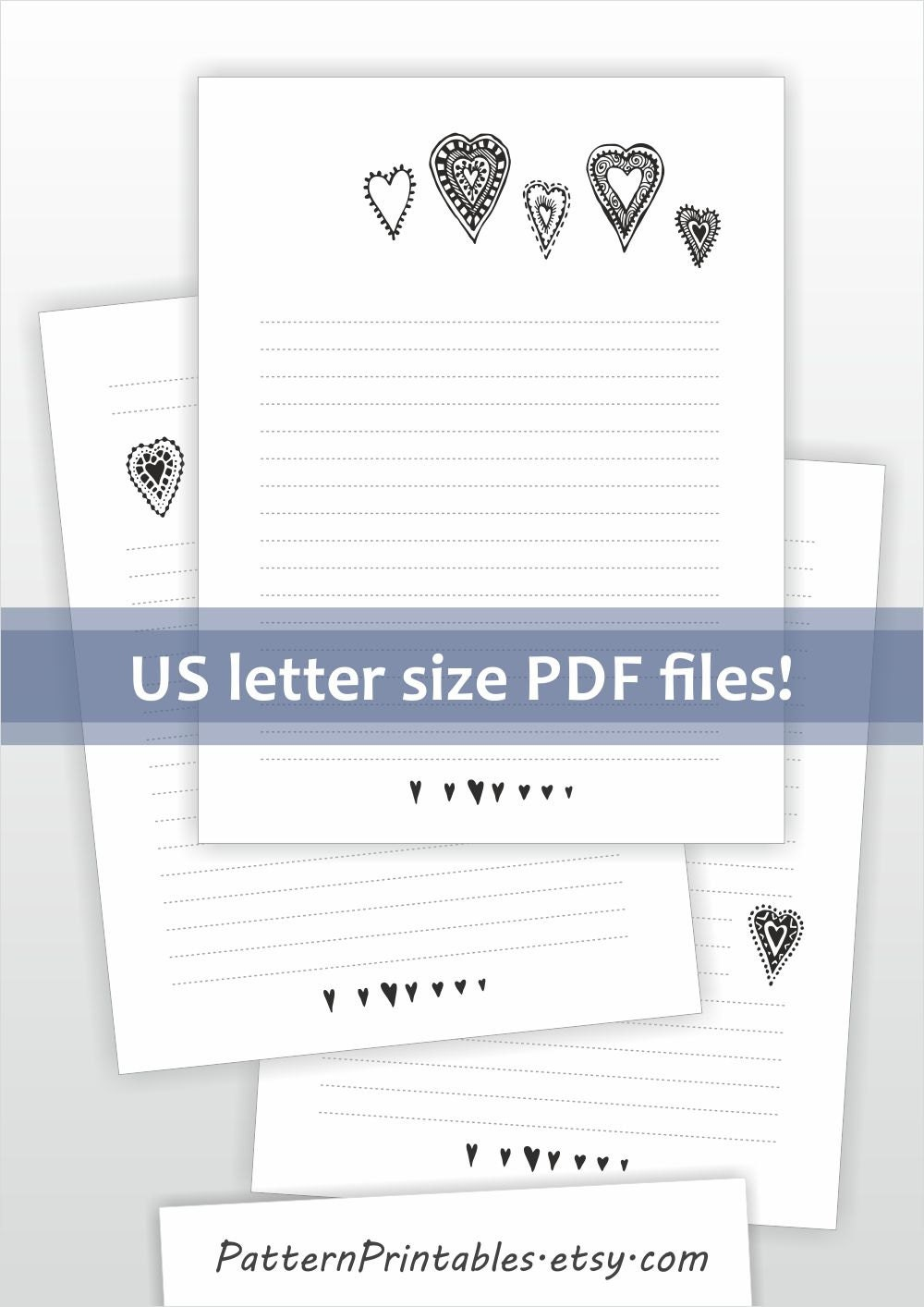 Printable lined letter writing paper Cute black and white doodle – Lined Letter Paper