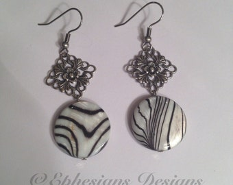 Safari Earrings, Zebra Earrings, Mother of Pearl Earrings, Dangle Earrings