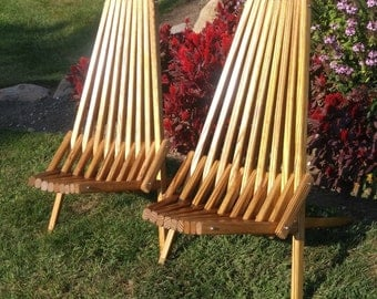 OutdoorFurniture, Patio Chair, Medium Walnut Finish, Accent Chair, Adirondack Chair, Wood Folding Chair, Deck Furniture, Camping, Beach