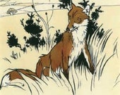 Cecil Aldin Reproduction Print Antique Fox Foxes Hunting  for Home or Office Wall Art Hanging