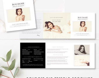 Boudoir Pricing Template 5x5 Accordion Trifold - Boudoir Trifold 5x5 Brochure - Photographer Brochure - INSTANT DOWNLOAD