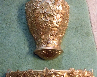 Vintage 1960's Hollywood Regency Syroco Ornate Gold Lavabo Two Part Wall Fountain