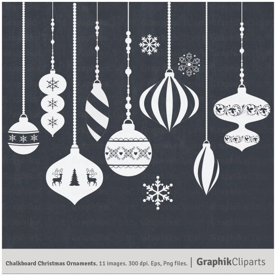 Chalkboard christmas ornaments clip art