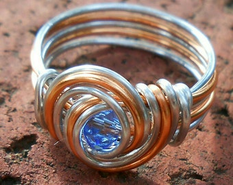 Holiday Sale! Sun and Moon Swirls Celtic/Elven Crystal Blue Zircon/Sapphire Ring