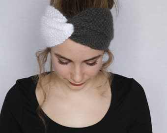 Headband  «Ingrid». Hand knitted. retro style. bicolour. Gray and white