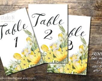 Yellow Wedding Table Numbers 1-20, Printable Table Numbers, rustic table number, boho table numbers, Wedding Printable, Wedding Signage,
