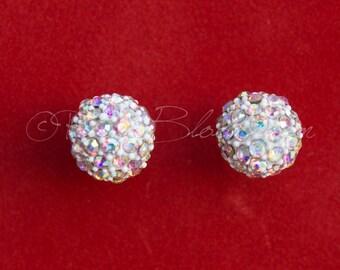 Winter Wedding Bridal Jewelry, Crystal Rhinestone Snow Ball Earrings. Wedding Earrings. Bridesmaids Earrings. Bridal Gift, Ruby Blooms