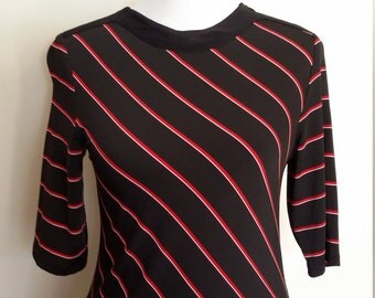 Striped top, S, M, red and black top, zipper top, sporty top, minimalist top, black top, short sleeve top, boatneck top