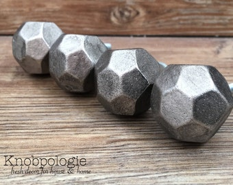 SET OF 4 Pewter Multifacet Iron Nugget Knobs - Thor's Hammer Iron Fist Knob - Industrial Gunmetal Grey