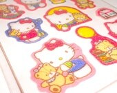 HELLO KITTY 1986 Sanrio Japan - Vintage beautiful rubber puffy sticker set sealed mint rare