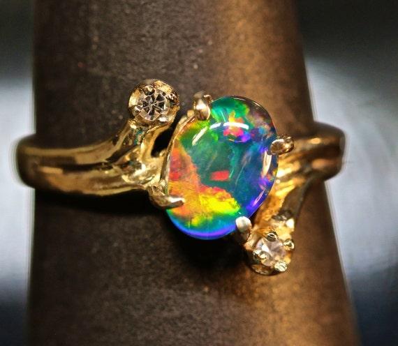 Beautiful Opal and Diamond Engagement Ring Natural AAA Grade