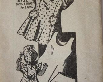 Girls 1940s Dress, Panties, Bonnet, Slip, Sewing Pattern, Anne Adams 4932, Mail Order Vintage Sewing Pattern Size 1