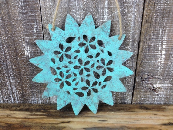 Spiky Galvanized Metal Flower Rustic Blue Wall Hanging Cutout