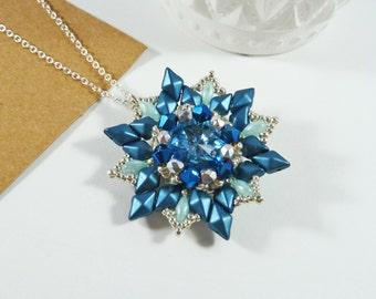 Blue Flower Pendant, Aqua Necklace, Swarovski Jewellery, Crystal Necklace, Prom Necklace, Gift for Her, DiamonDuo Jewelry, Beadwork Pendant