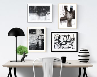 Art Print set of 4    abstract art print  with black and white.  jolina anthony