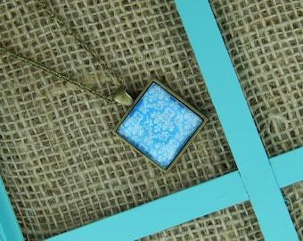 Turquoise damask square glass pendant antique bronze necklace