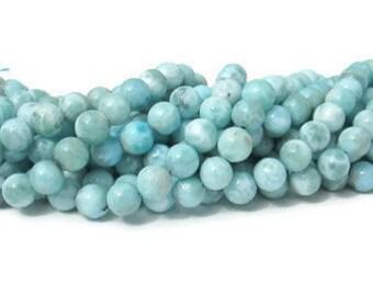 Genuine Larimar,  Dominican Larimar, 8 inch strand, 26 round beads in an 8 mm size