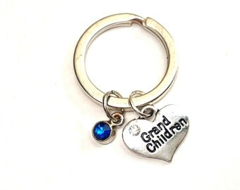 Grandma Keychain, Custom Keychain, Custom Key Ring, Grandma Pendant, Grandchildren Charm, Grandma Jewelry, Grandma Gift,Grandmother Keychain