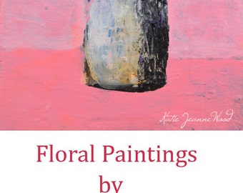 Pink Acrylic Still Life Flower Painting. Floral Painting White Flowers. Dining Room Wall Decor. No 34