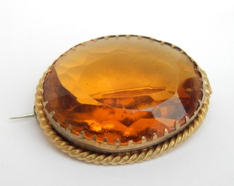antique edwardian citrine paste brooch - antique brooch