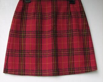 SALE Vintage 90's Style Pink Plaid Tailored Mini Skirt