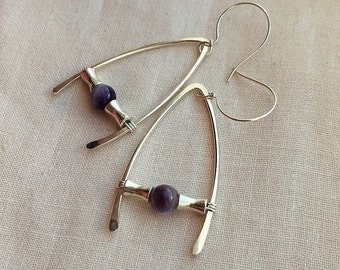 Handmade Amethyst quartz and hammered sterling silver earrings
