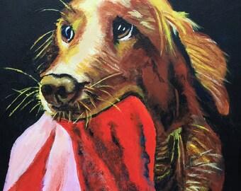 "Dog portraits, Custom pet portrait, Pet portrais, 8 x 10"" original acrylic painting on canvas, colorful dog animal pet lover painting"