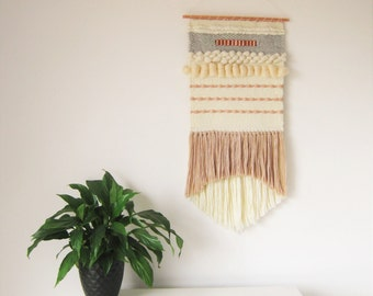 Wall Hanging, Modern handwoven tapestry in grey, cream, copper/Weaving/BOHO WALL DECOR/Ethnic decor/Weaving/Wall Art/Boho wall hanging/