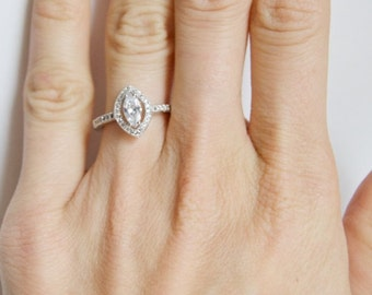 Marquise cut Engagement Ring, Halo Marquise ring , CZ Promise Ring, Halo Engagement Ring, CZ engagement ring