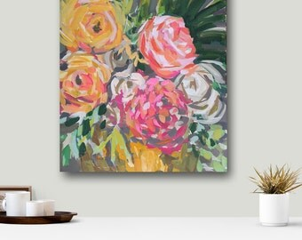 Modern Art Flowers PRINT ,  Floral, pink, gray, aqua, marendevineart