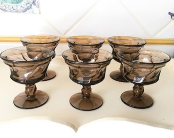Wine glasses / Fostoria Jamestown Brown Pattern Ice Cream Goblets / Fruit Cups / Sherbert Glasses / Dessert Stem Glasses / Set of Six