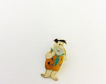Fred Flintstone Enamel Gold-Tone Pin, 1988 H-BP Inc. Vintage  Flintstones Lapel Pin, Tie Pins Hanna Barbera Cartoon Character Memorabilia