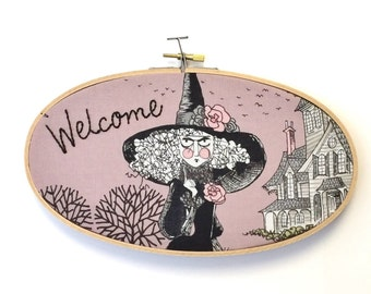 Custom Lettering on Ghastlies Fabric ~ Macabre Mathilde in Mauve ~ Funny Wall Crafts ~ Embroidery Art Gifts For Her ~ Hand Stitched Hoop Art