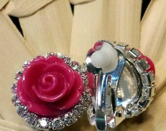 Fuchsia Pink Rose Clip Earrings With Rhinestones