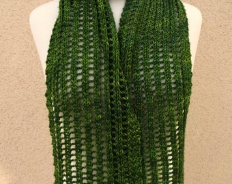 Knit Scarf, Lace, Bias, Openwork, Jade Green