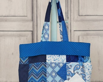 Pinwheel Tote Bag, Blue & White
