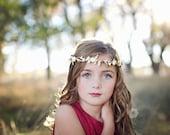 Gold Flower Crown, Greek Flower Crown, Gold Ivory Flower Crown, Greek Goddess, Ivory Flower Crown, Gold Leaf Flower Crown, Woodland