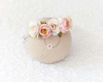 Toddler Flower Crown, Peach Flower Crown, Baby Flower Halo, Baby Flower Crown, Newborn Flower Crown, Newborn Flower Headband