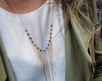 Gold Filled Chain Fringe Necklace in Black