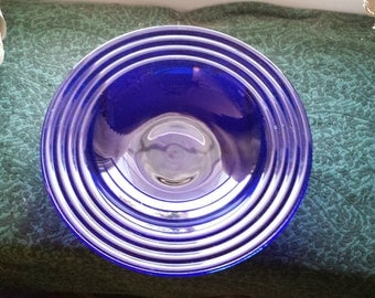 PYREX COBALT Blue Vintage Pyrex Bowl Fiesta Swirl on Edges,Large Great 4 Serving Chips or Fruit Bowl Etc..,Beautiful Check Out all  Pictures