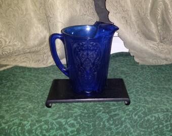 COBALTBluePITCHER, Vintage Cobalt CrystalGlass 1950s,Antique Floral Design Dark Cobalt Blue Pitcher,Vintage Cobalt Blue,Check All 5 Pictures