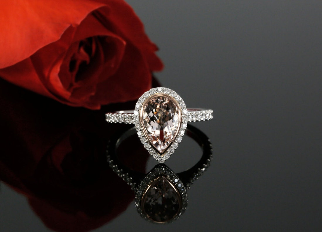 Pear Shape Morganite And Diamond Engagement Ring Bezel Set