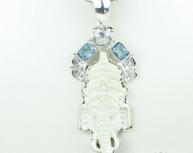 Lord Ganesha DEER ANTLER Native TOTEM Goddess Face Moon Face Bone Carving 925 S0LID Sterling Silver Pendant + 4MM Chain p3831