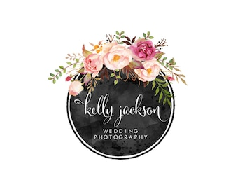 Wedding Photography Logo | Pre-made logo design | Blog Logo | Flower logo | Premade Logo | Design Logo | Flower wreath