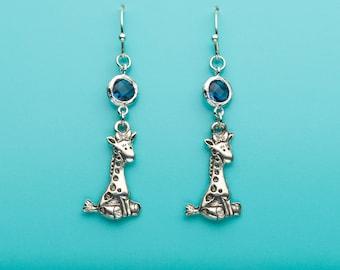 Giraffe Earrings, Cute Giraffe Earrings, Sapphire Crystal Earrings, Animal Earrings, Giraffe Gift, Dangle Earrings, Gifts for Her, 97