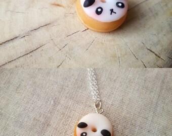 Panda donut necklace, food necklace, miniature food jewelry, doughnut pendant, panda necklace, kawaii jewelry, best friend