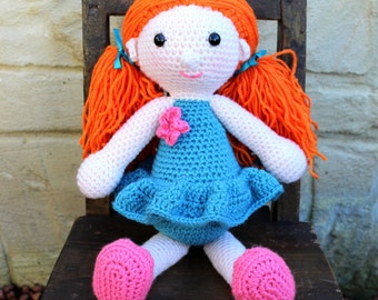 Handmade, crocheted toy doll for children and babies in teal with red hair