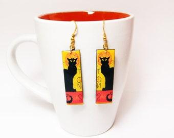 Le Chat Noir Earrings Dangle Drop Earrings Black cat earrings Retro Classic Gift