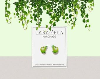 Green apples Stud Earrings Apples Earrings Fruit earrings Gift Idea For Her