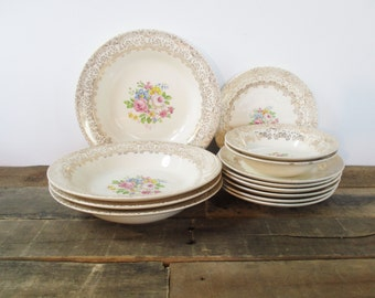 SALE*** 1940's Royal China 22k Gold China - Sebring Ohio, Made in the USA. Gold Gilded Edges with Pink and Blue Floral Pattern. Shabby Chic!